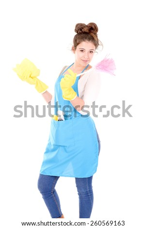 cleaning lady isolated in white background - stock photo