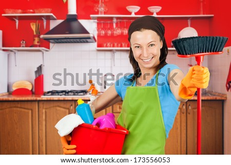 cleaning maid - stock photo