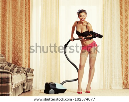 Cleaning master. Pin-up style - stock photo
