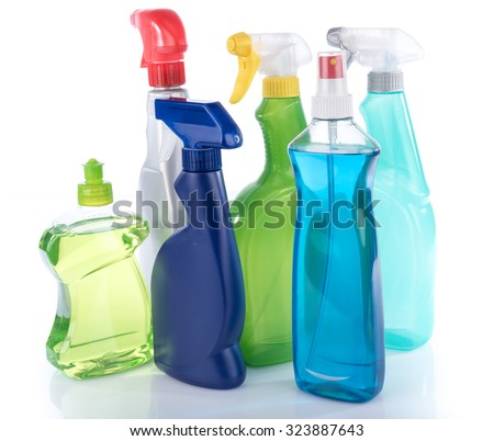Cleaning products, isolated on white - stock photo