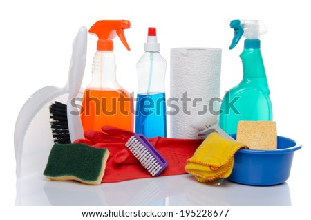 Cleaning  products with cleaning material, isolated on white - stock photo