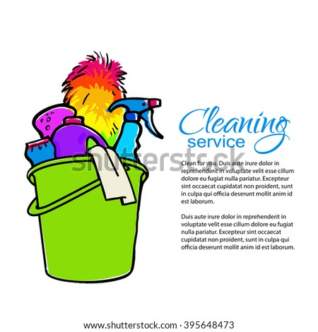 Cleaning services. Hand drawn spray and dust collector, rag, sponge. Cleaning homes and offices. Bucket with cleaning cleaners. Colorful painted bucket. Easy cleaning. illustration - stock photo