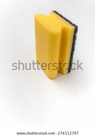 Cleaning sponge with space on white background vertical style - stock photo