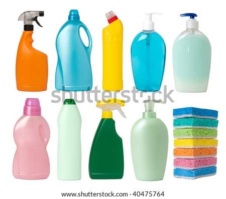 Cleaning supplies containers - stock photo