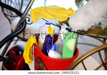 Cleaning supplies for clean house  - stock photo