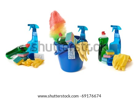 Cleaning supplies isolated on a white - stock photo