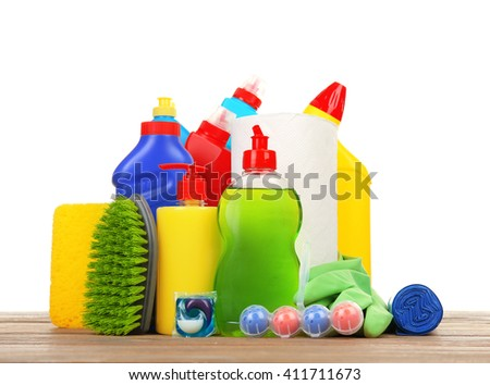 Cleaning supplies on the floor - stock photo