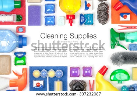 cleaning supplies on white background - stock photo