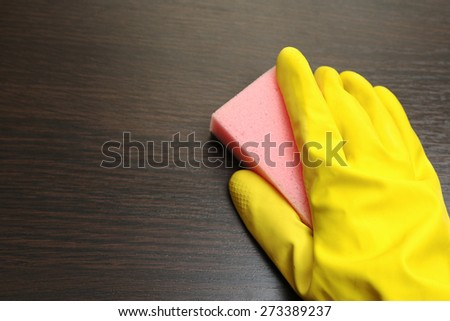 cleaning table cloth - stock photo