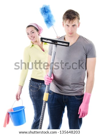 Cleaning the house man and wife concept - stock photo