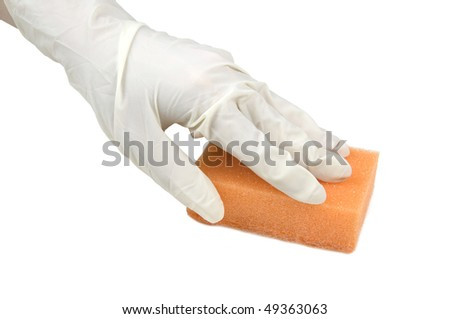 Cleaning with a sponge  over white background - stock photo