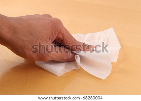 Cleaning with Disinfectant Wipes - stock photo