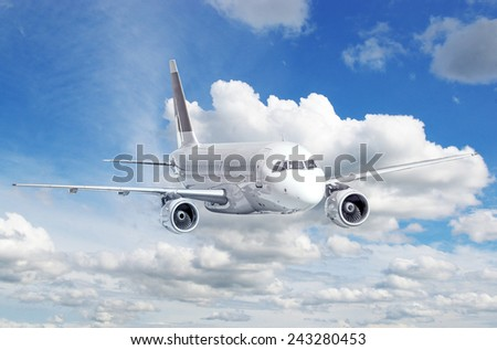 Clear airplane in the sky - Passenger Airliner - stock photo