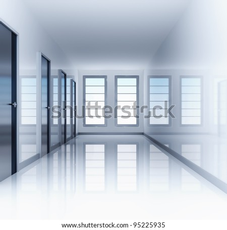 Clear and empty hall with doors and windows - stock photo