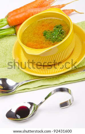 clear broth - stock photo