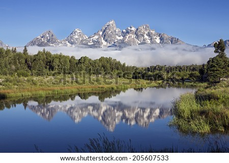 Clear Day at Schwabacher�s Landing on the Sank River in Grand Teton National Park, Wyoming. - stock photo