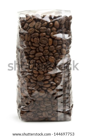 clear plastic bag of coffee beans isolated on white background - stock photo