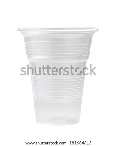 clear plastic cup isolated on white background - stock photo
