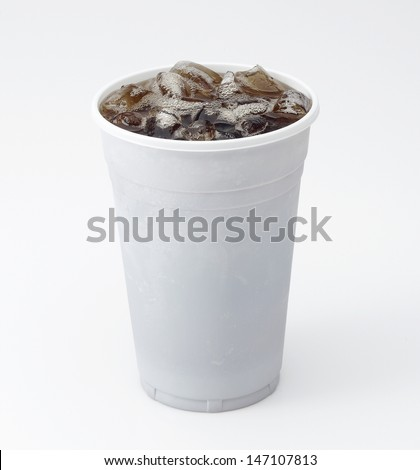 Clear Plastic Cup of Cola with Ice isolated on white - stock photo