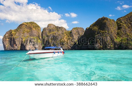 Clear sky and sea at Maya bay on Phi Phi Island, Krabi province, Thailand - stock photo