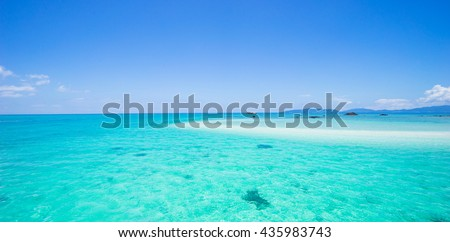 Clear tropical water and deserted coral cay beach, Yaeyama Islands, Okinawa, Japan - stock photo