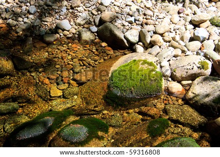 clear water on rock - stock photo