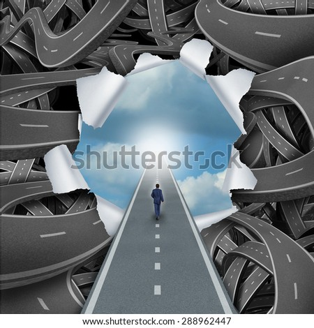 Clear way business and life success concept as a person walking through a bursted scene of confused tangled roads and highways to a calm blue sky as a metaphor for escaping the confusion or freedom. - stock photo