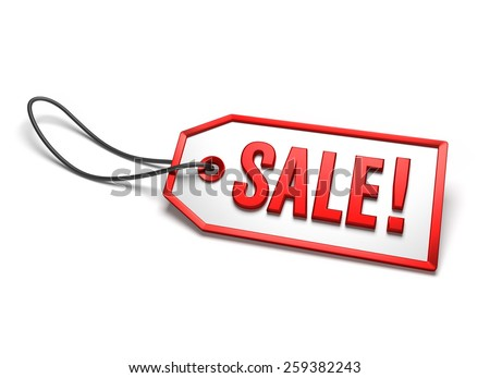 Clearance sale badge. White sticker with red border and string attached, isolated on white - stock photo