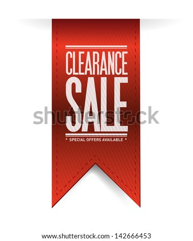 clearance sale red banner illustration design over white - stock photo