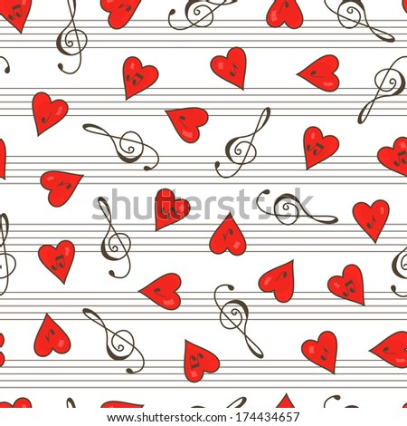 Clef. Hearts. Notes. Clef and hearts with music notes seamless pattern.  Music seamless pattern. Abstract seamless background. Valentine's Day. - stock photo