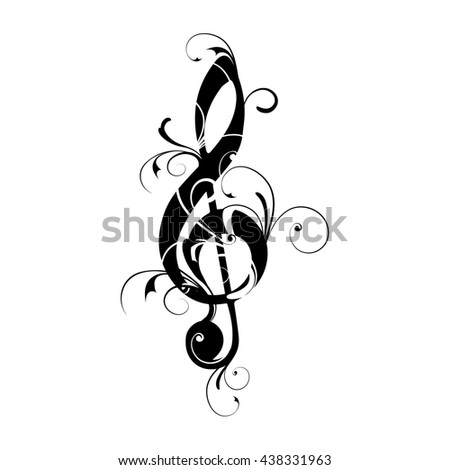 Clef, sheet, music, note, ornaments, floral, - stock photo