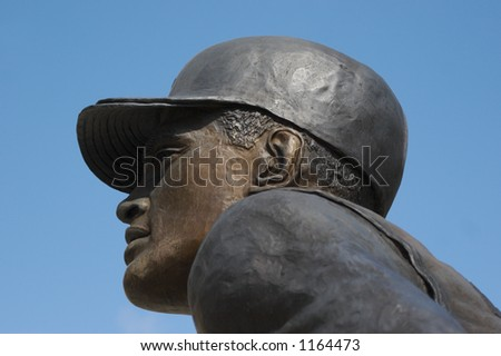 Clemente Statue Detail at Baseball Park in Pittsburgh - stock photo