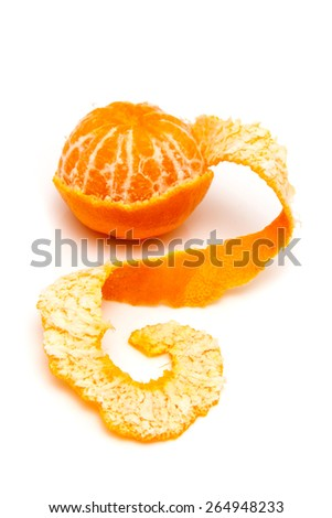 clementine with segments on a white background - stock photo