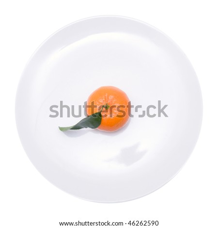clementine with small branch and leaf; isolated on white - stock photo