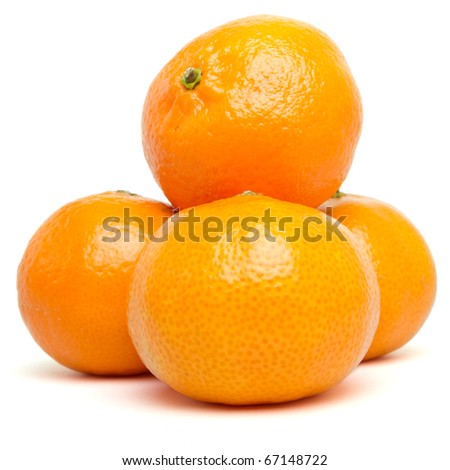 Clementines from low perspective isolated on white. - stock photo