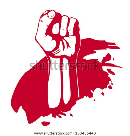 Clenched fist hand. Victory, revolt concept. Revolution, solidarity. - stock photo