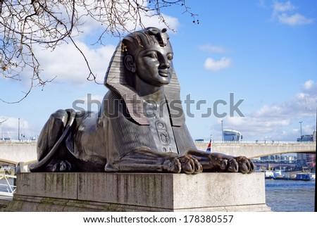 Cleopatra's Needle, Obelisk, Victoria Embankment, Thames river, London, UK  - stock photo