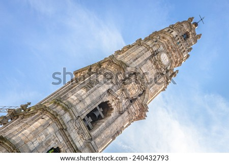 Clerigos church tower in downtown Porto. - stock photo