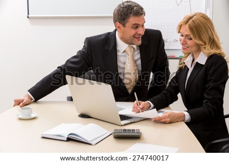 Clerks work on the project. Business Partners. - stock photo