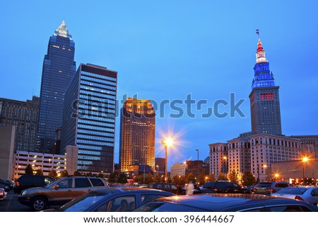Cleveland downtown evening time. Cleveland, Ohio, USA. - stock photo