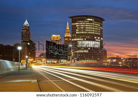 Cleveland. Image of Cleveland downtown at beautiful colorful sunrise. - stock photo