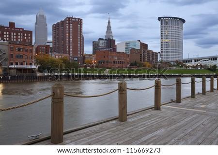 Cleveland. Image of rainy day in Cleveland, Ohio. - stock photo
