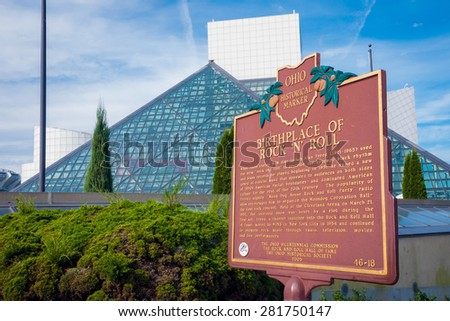 CLEVELAND - OCT 11:  The Rock and Roll Hall of Fame on lightly cloudy day.  The pyramid structur was designed by architct I.M. Pei, who also designed Musee Louvre. - stock photo