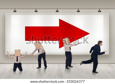 Clever business solutions - businessman early adopter of a trend - stock photo