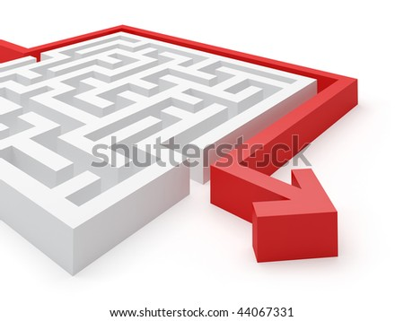 Clever solved maze puzzle - see more in portfolio - stock photo