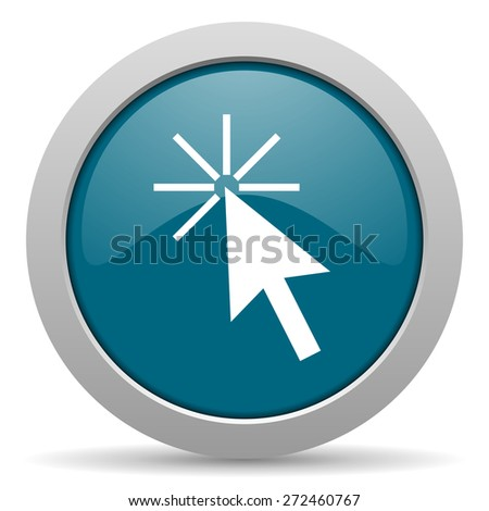 click here blue glossy web icon  - stock photo