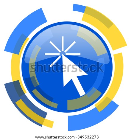 click here blue yellow glossy web icon - stock photo
