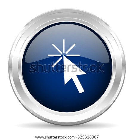 click here cirle glossy dark blue web icon on white background - stock photo