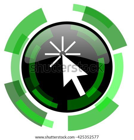 click here icon, green modern design glossy round button, web and mobile app design illustration - stock photo