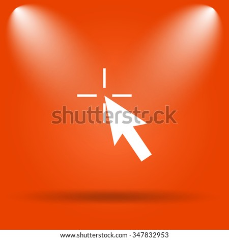Click here icon. Internet button on orange background.  - stock photo